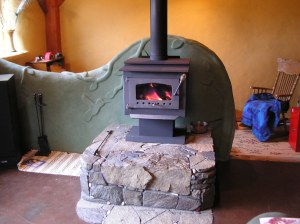 upraised wood stove