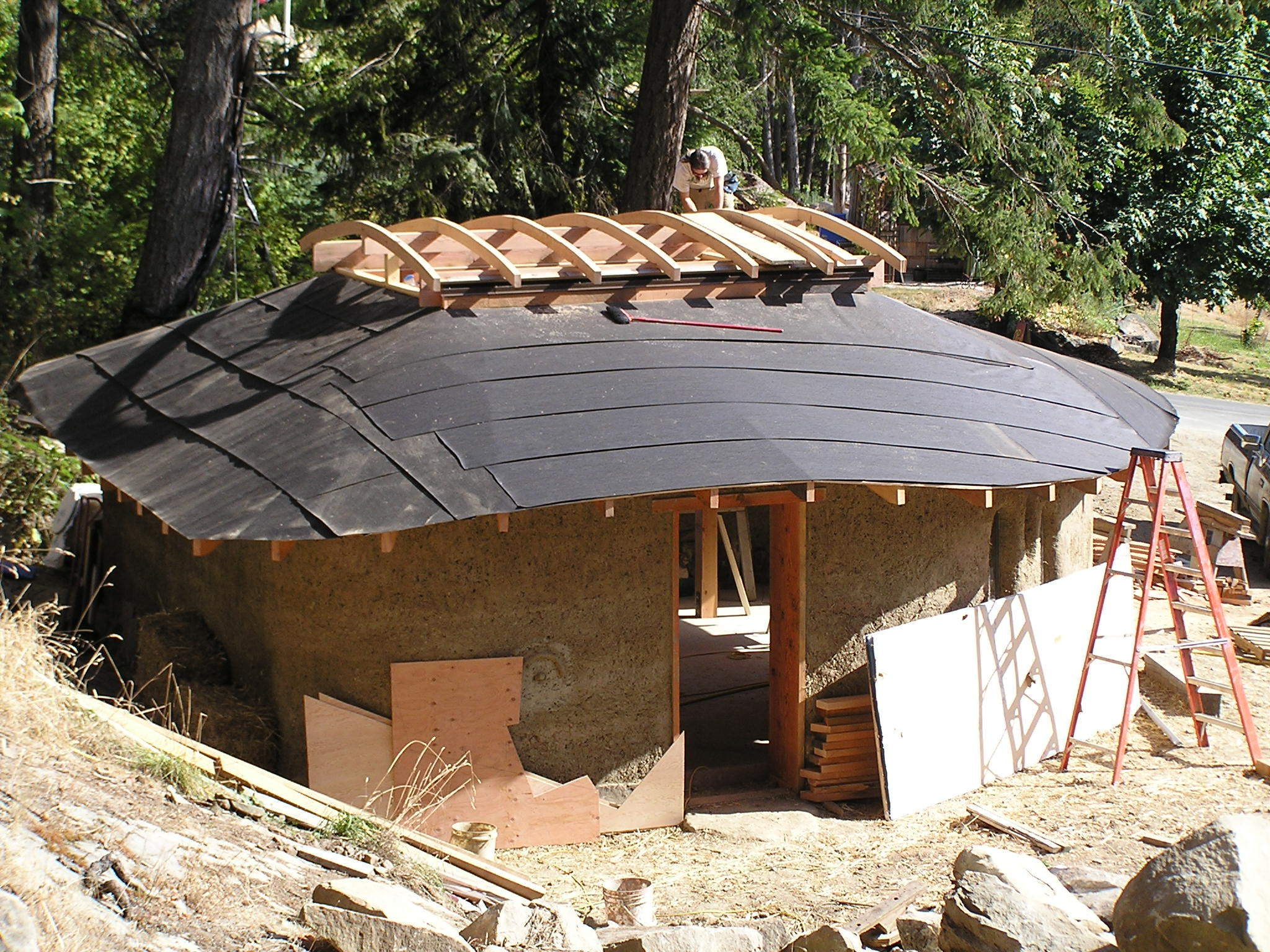 The roof of the cob workshop inspirational village for House roof construction