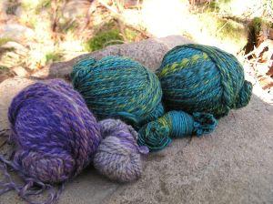 Aurelia's Merino colour blends spun in long colour changes