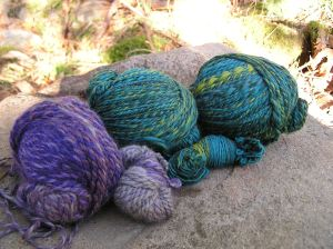 Aurelia's Merino colour blends spun in long colour changes