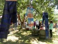 hanging saori scarves
