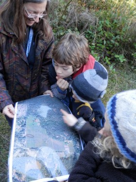 looking at a map of the property