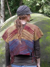 Sewn in a V at the back, the sunrise vest is mostly llama and wool.
