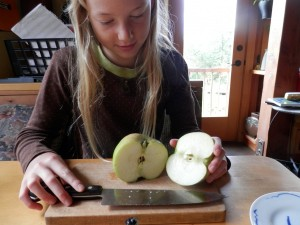 slicing up Bramley's Seedling
