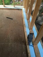 toe-ups on the plywood subfloor with rough electrical