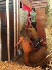 pushing the bale into place